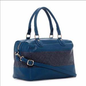 Handbags - 💕 Blue Two-Tone Faux Leather Satchel💕